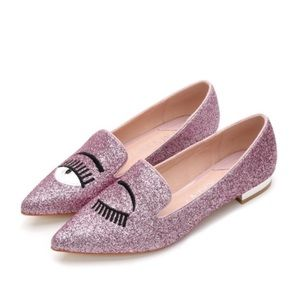 Shoes - WINK EYE SPARKLE FLATS W/ STACKED HEEL